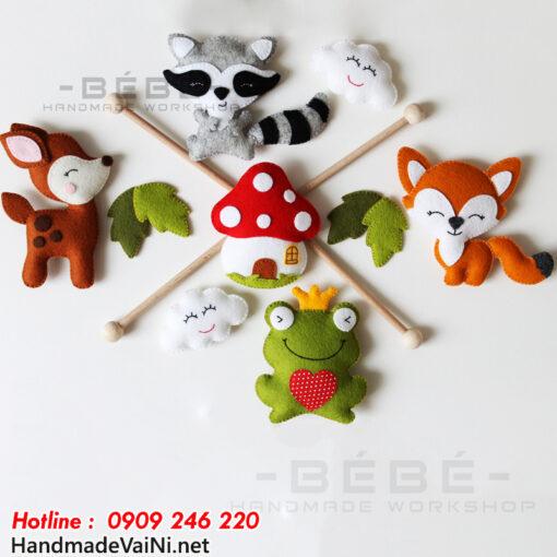 Đồ chơi treo nôi cũi handmade hình ếch nai cáo chồn DC25