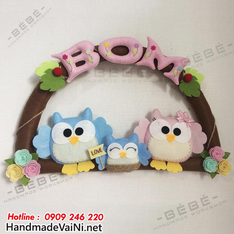 Bảng tên treo cửa phòng handmade thiết kế theo chủ đề chim cú mèo BT11