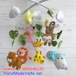 Đồ chơi treo nôi cho trẻ sơ sinh handmade DC47 gồm có : hà mã , Hưu cao cổ, khỉ, voi , hồng hạc, sư tử , mèo....