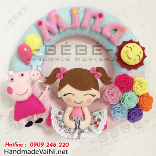Vòng chữ treo nôi handmade heo Peppa Pig cho bé gái sn0029